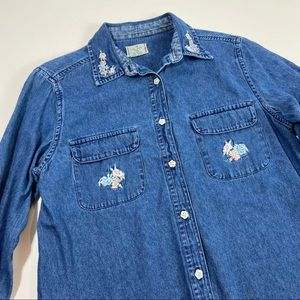 Vintage Wrangler Embroidered Button Down Shirt Top